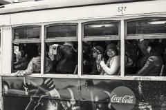 Saludando desde el tranvía